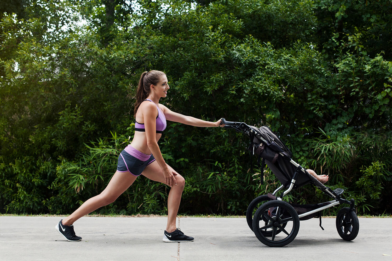 exercise with baby, stroller exercise, fit mom, exercise