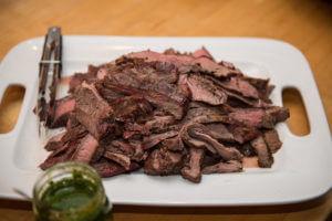 chimichurri sauce, grilled flank steak