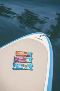 healthy summer snacks, quest protein bars, stand up paddle board workout